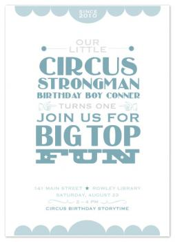 Circus Strongman Party Invitations