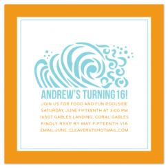Ridin the waves Party Invitations
