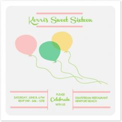 Whimsical Balloons Party Invitations