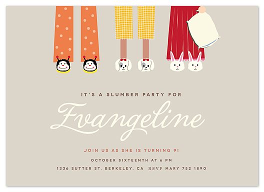 party invitations - slippers buddies by chocomocacino