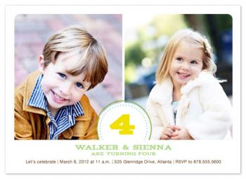 Classic Twins Birthday Love Party Invitations
