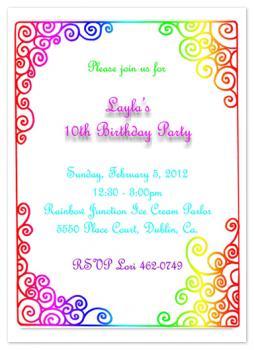 Rainbow Curls Party Invitations
