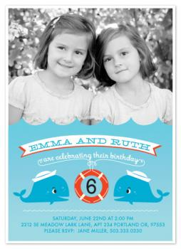 Little Twin Whales Party Invitations