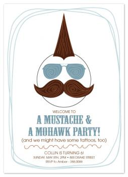 Mustach & Mohawk Party Party Invitations