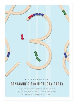 All Aboard the Wooden Train Set Party Invitations
