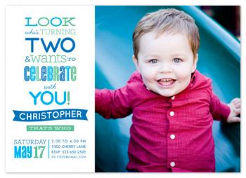 Look Who's Turning Two Party Invitations
