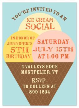 Ice Cream Social Party Invitations