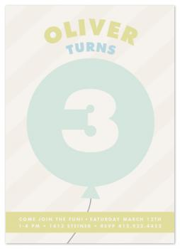 Numbered Balloon Party Invitations