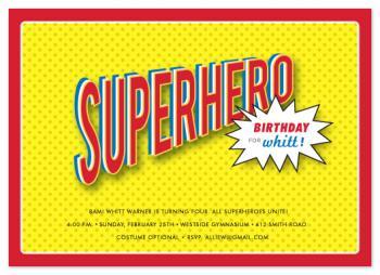 bam! a superhero birthday Party Invitations