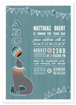 Circus Seal Party Invitations
