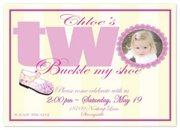 I'm Two ~ Buckle My Shoe Party Invitations