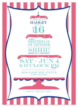 Sweet Surprise Cake Party Invitations