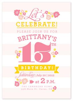 Pretty and Pink 13 Party Invitations