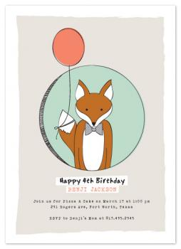 Birthday Fox Party Invitations
