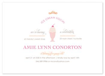 Ice Cream Social Party Invitations