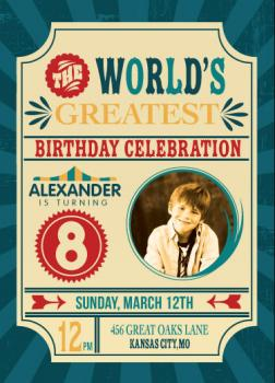 The World's Greatest Birthday Circus Party! Party Invitations