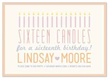Sixteen Candles Birthday Party Invitations