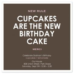 New Cupcake Rule Party Invitations