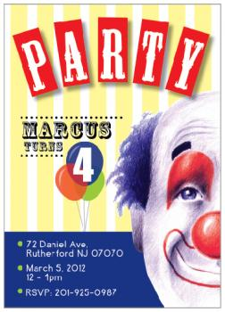 Smiley Clown Party Invitations