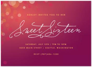 Twinkling Sweet Sixteen Party Invitations