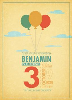 three balloons. Party Invitations