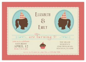 Vintage Twins Party Invitations