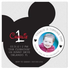 Mickey Mouse Stripes Party Invitations
