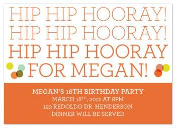 Hip Hip Hooray Party Invitations