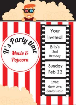 its movie time Party Invitations