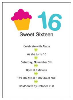 Cupcake Sweet 16 Party Invitations