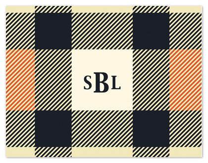 personal stationery - Orange Plaid by Stephanie Blaskiewicz