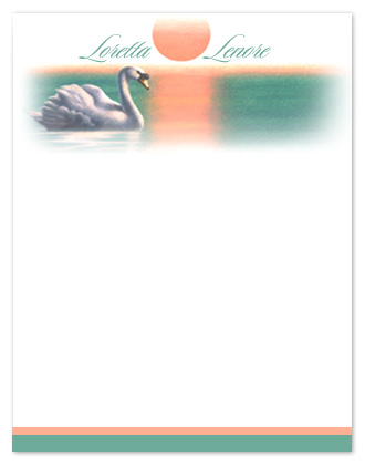 personal stationery - Swan-sunset-personal-stationery by john sposato