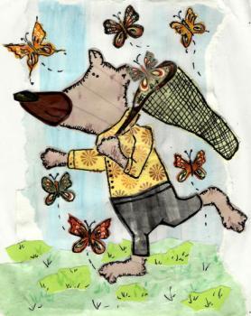 Bear chasing Butterflies