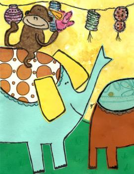 Monkey riding an Elephant Art Prints