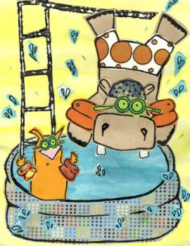 Hippo & Cat Pool Party Art Prints