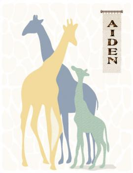 Blue and Yellow make Green Giraffe Art Prints