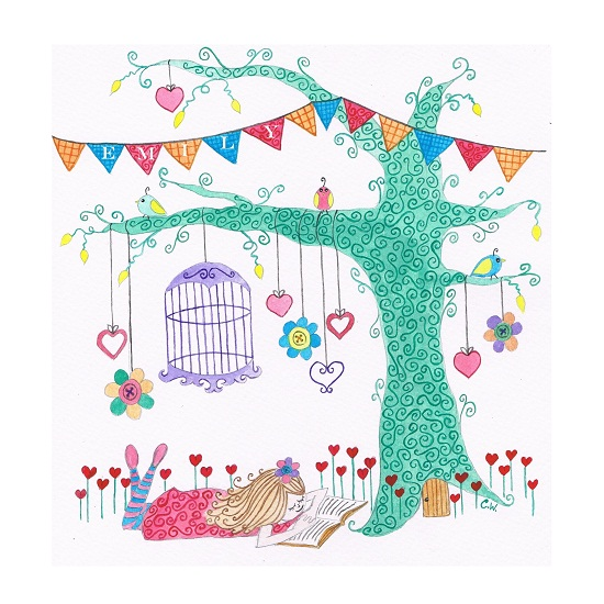 art prints - Reading Tree by Claire Wiles