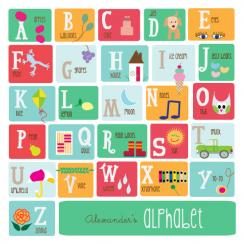 Alphabet in Squares Art Prints