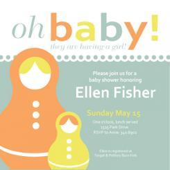 Nesting Dolls Baby Shower Invitations