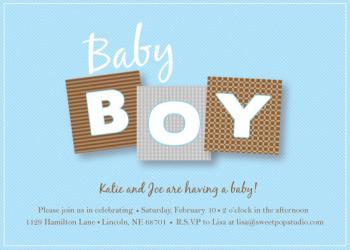 Baby Boy Blocks Baby Shower Invitations