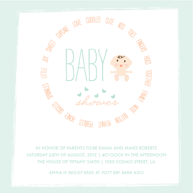 baby shower invitations - Word sprinkles by Giselle Zimmerman