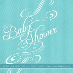 Swirl Shower Chic Baby Shower Invitations