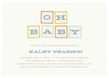 Oh Baby Blocks Baby Shower Invitations