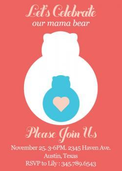 Mama Bear Baby Shower Invitations