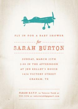 Fly on Over Baby Shower Invitations