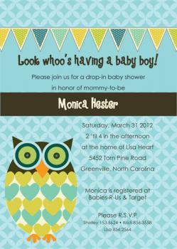 Look Whoo's Having a Baby Baby Shower Invitations