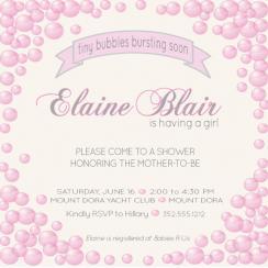 Tiny Girl Bubbles Baby Shower Invitations