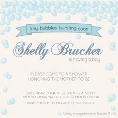 Tiny Boy Bubbles Baby Shower Invitations