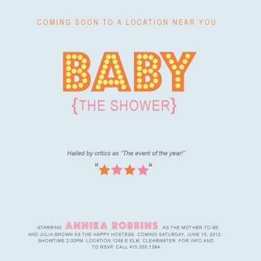 baby shower invitations - Name in Lights by Jenn Johnson
