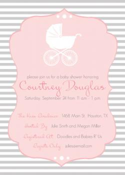 Vintage Carriage Silhouette Baby Shower Invitations